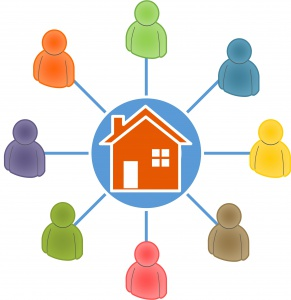 HUN network icon, people all connected, circling a home